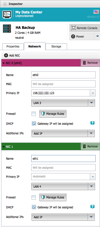 Configure network interfaces for the backup NGINX Plus instance in ProfitBricks