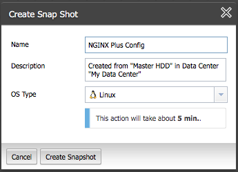 Create a snapshot of the master NGINX Plus instance in ProfitBricks