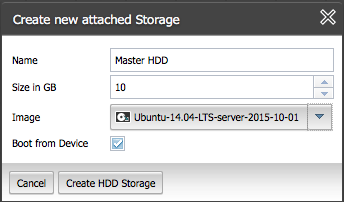 Allocate storage for the master NGINX Plus instance in ProfitBricks