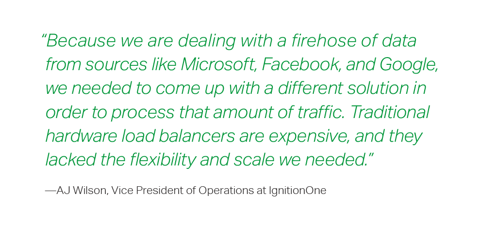 """""""Because we are dealing with a firehose of data from sources like Microsoft, Facebook, and Google, we needed to come up with a different solution in order to process that amount of traffic. Traditional hardware load balancers are expensive, and they lacked the flexibility and scale we needed."""" says AJ Wilson, Vice President of Operations at IgnitionOne."""