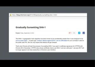 LetsEncrypt conf2015 Slide 10 - SHA 1