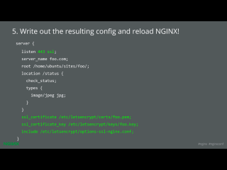 LetsEncrypt conf2015 Slide 30 - write out config