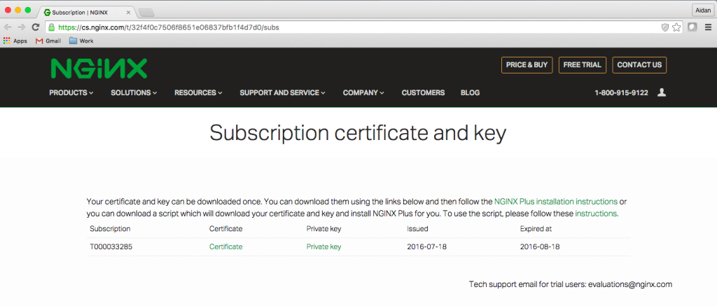 NGINX Plus free trial activation page with subscription certificate and key