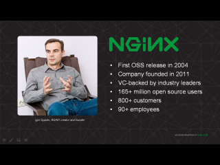 Open source NGINX was first released in 2004 and now powers 165+ million websites; NGINX, Inc. was founded in 2011 to commercialize NGINX Plus and now has 800 customers