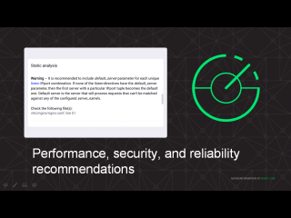 NGINX Amplify analyzes your configuration and recommends change to improve performance, security, and reliability