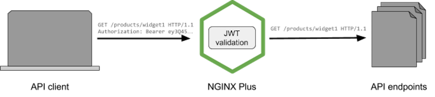 """Acting as an API gateway, NGINX Plus validates the JSON Web Token (JWT) presented by the API client and passes the request to the appropriate API endpoint if the JWT is valid"