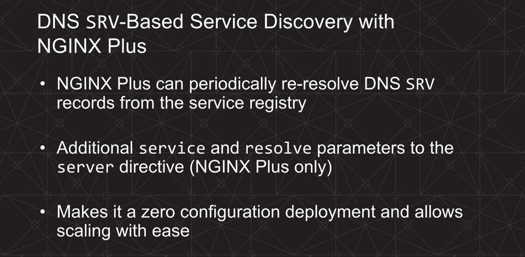 Webinar - 3 Ways to Automate - Slide 17 - DNS SRV-based SD with NGINX Plus