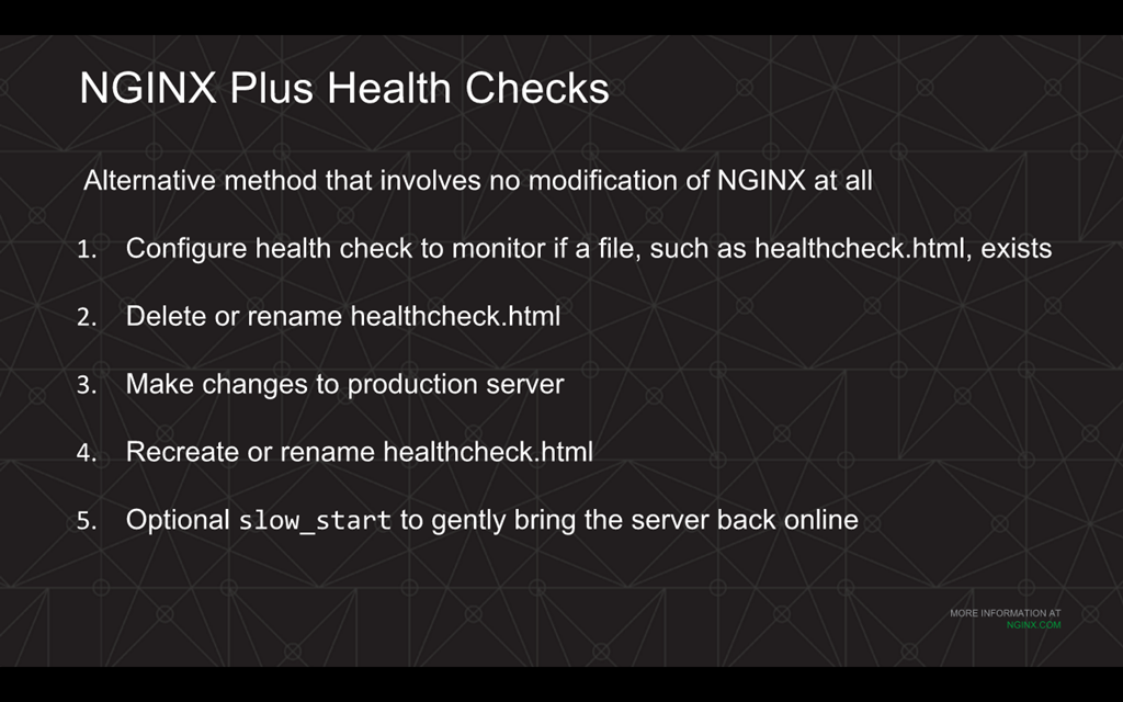 You can use health checks for automated deployment of backend upgrades