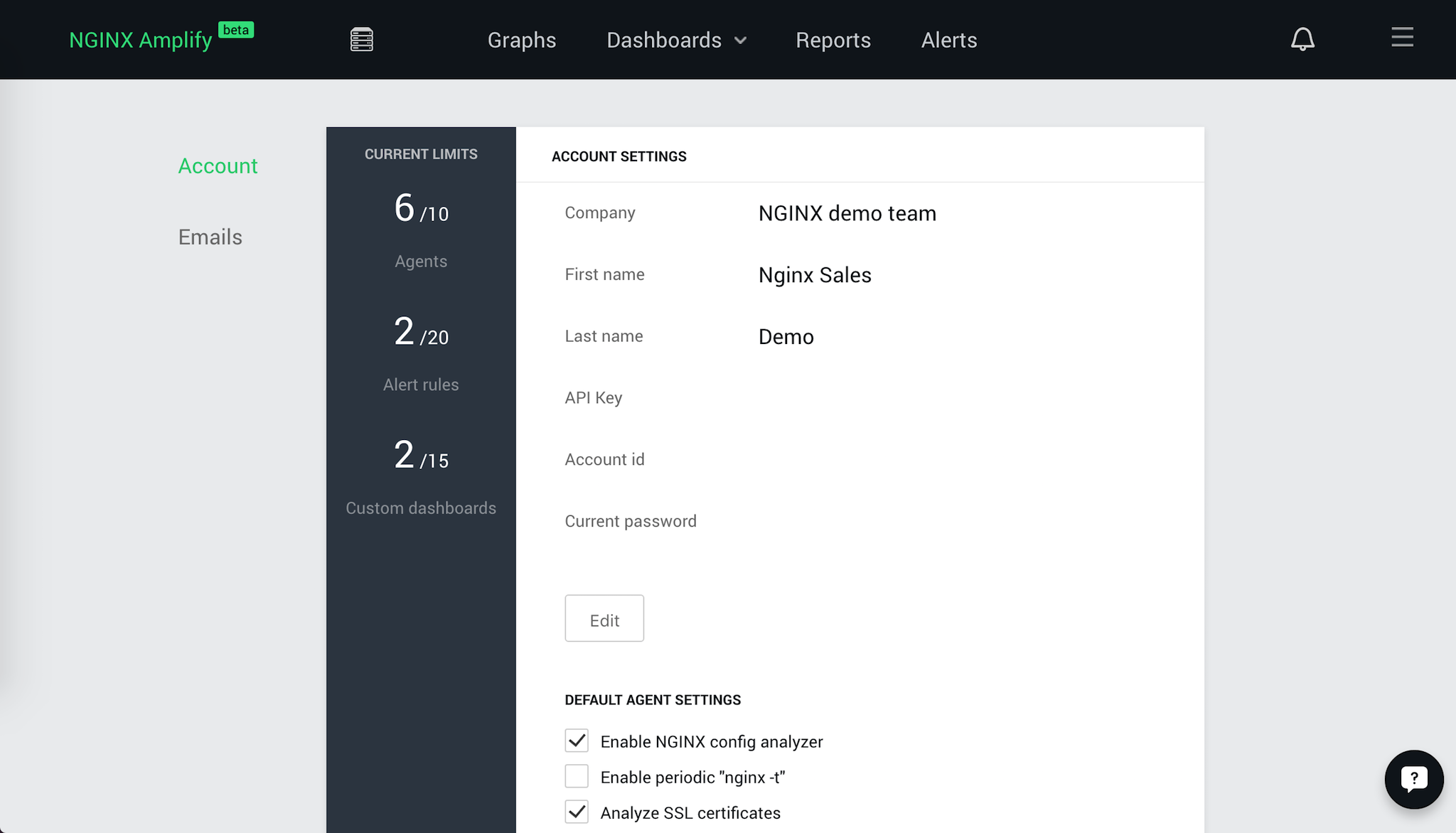 The 'Account Settings' panel controls which types of NGINX configuration analysis are included in NGINX Amplify reporting