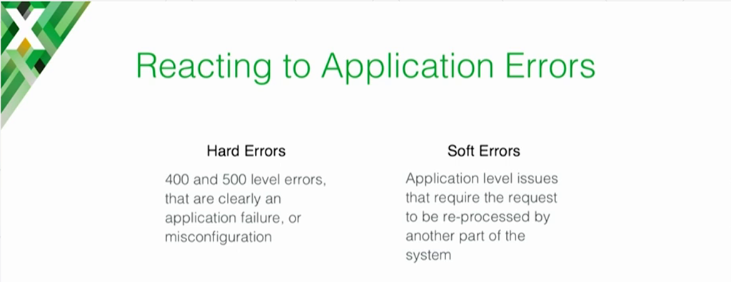 NGINX can be used to provide custom reactions to hard errors (4xx and 5xx) and soft errors (application-level errors solved by reprocessing) [presentation on lessons learned during the cloud migration at Expedia, Inc.]