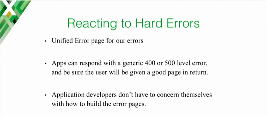 When NGINX as the cloud load balancer and proxy handles 4xx and 5xx errors, users see an informative error page without individual apps having to generate them [presentation on lessons learned during the cloud migration at Expedia, Inc.]
