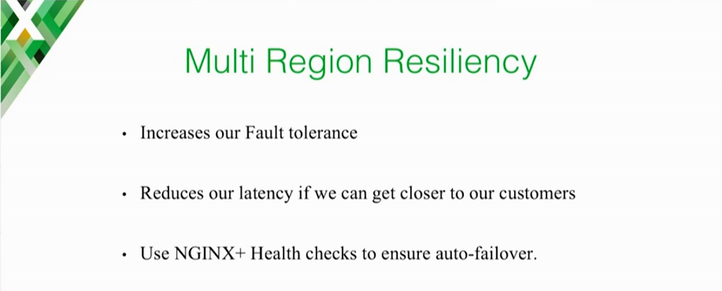 NGINX Plus health checks are central to Expedia's goal of multi-region resiliency, which increases fault tolerance and reduces latency for customers [presentation on lessons learned during the cloud migration at Expedia, Inc.]