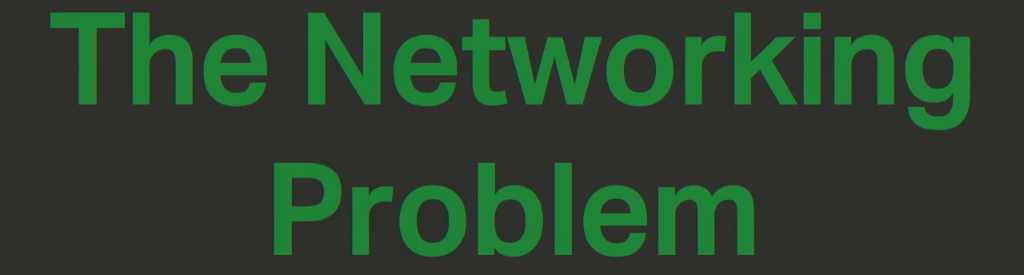 "Section title slide ""The Networking Problem"" underlines a challenge to a microservices architecture: the need for microservices to communicate over a network [presentation by Chris Stetson, NGINX Microservices Practice Lead, at nginx.conf 2016]"