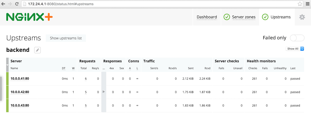 After you use OpenStack Heat to deploy NGINX Plus as the load balancer in your OpenStack cloud computing infrastructure, NGINX Plus instances appear on the live activity monitoring dashboard
